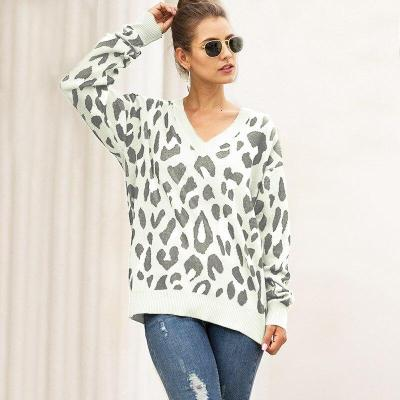 Autumn and Winter Sweater European and American Fashion Plus Size Three-color Leopard Jacquard V-neck Sweater Women