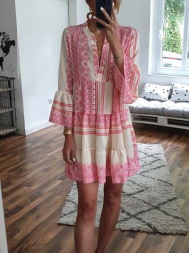Pink Cotton-Blend Boho Striped V Neck Dresses