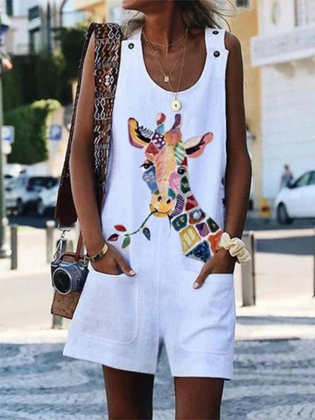 Sleeveless Round Neck Giraffe Printed Jumpsuit