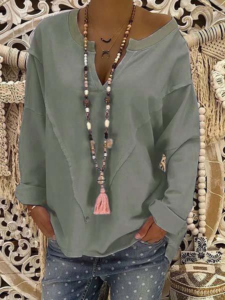 Paneled Polyester Casual V-Neck Blouse