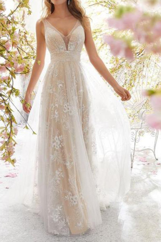 Sexy V Collar Lace Floral Embroidery Maxi Dress Eveing Dresses