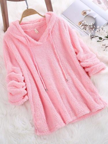 Women Winter a Long Hooded Sweatshirt Mohair Solid Color