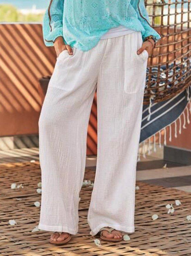 Cotton-Blend Plain Pants