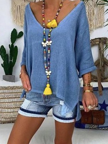 Blue Casual V Neck Shirts & Tops