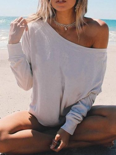 White One Shoulder Casual Long Sleeve Shirts & Tops