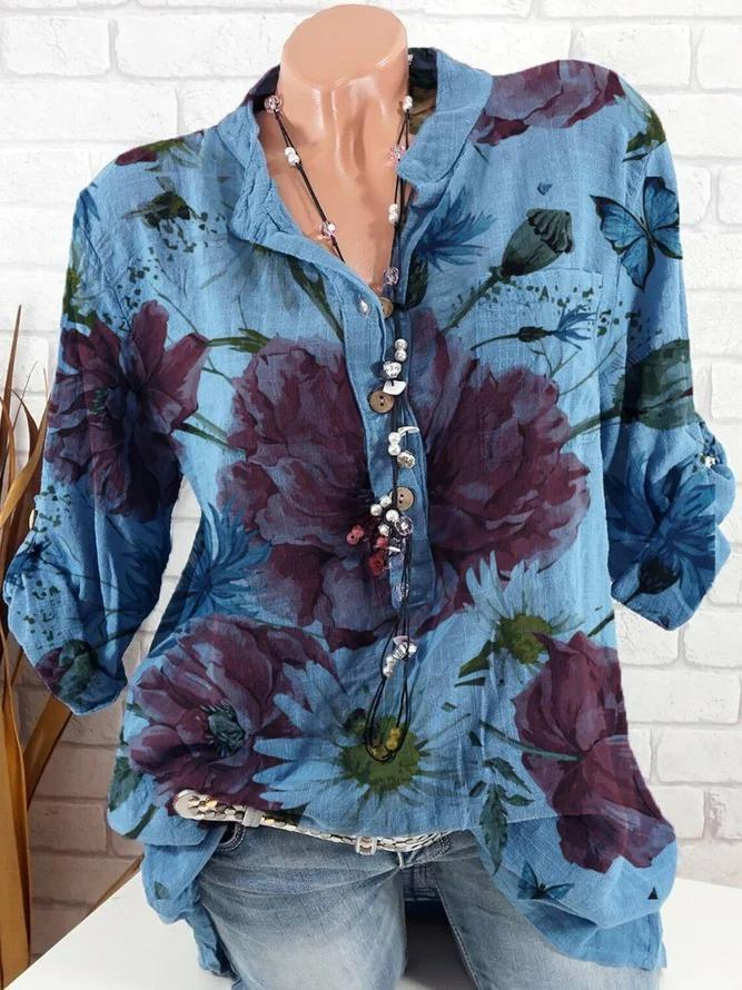 Women Blue V Neck Printed Casual Cotton-Blend Shirts & Tops