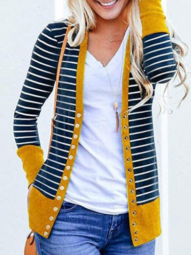 Womens Outerwear Buttoned Stripes Paneled Cardigans