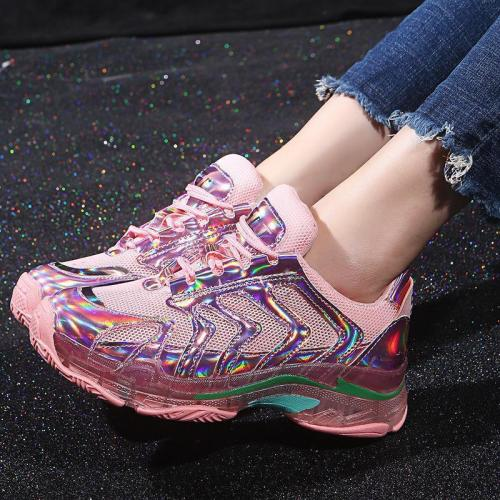 Fashion Laser Colorful Crystal Platform Old Shoes