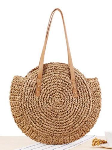 Women Fashion Big Round Shaped Straw Basket Handbag