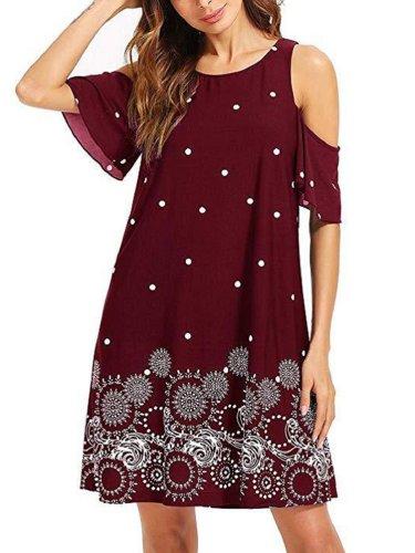 Short Sleeve Floral Cotton Crew Neck Casual Dresses