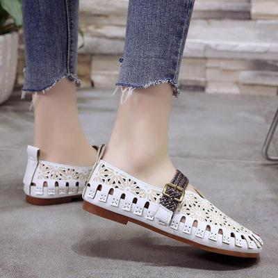 Women Hollow Out Loafers Flower Flat Adjustable Buckle Shoes