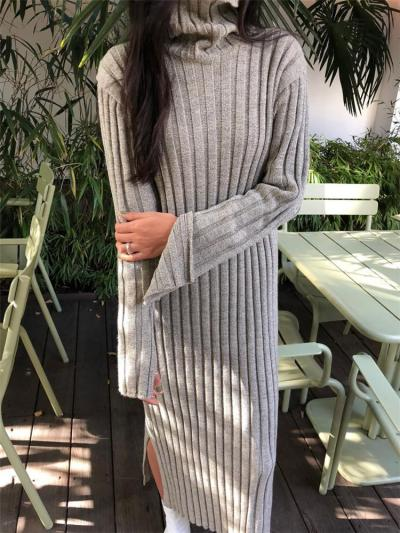 Casual Simple High   Collar Shown Thin Thickening Sweater Knitted Maxi Dress