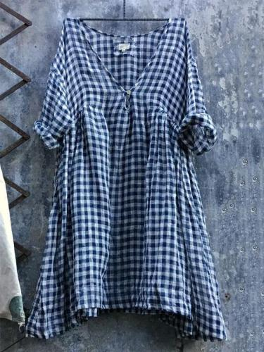 Casual V Neck 3/4 Sleeve Plus Size Lattice Bat Sleeve Dress