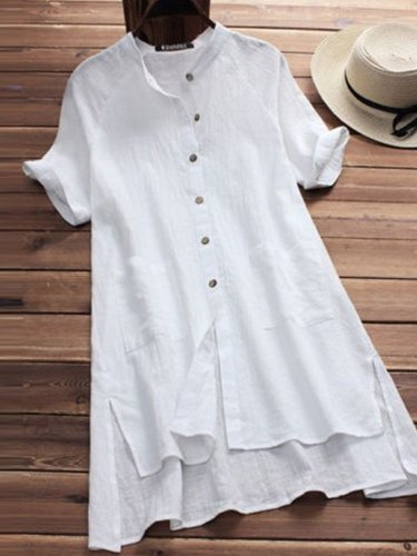 Buttoned Asymmetrical Casual Solid Shirts & Tops