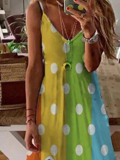 Multicolor Cotton-Blend Simple Sleeveless Dresses