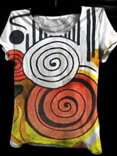 Women's Casual Crew Neck Short Sleeve Abstract Printed Tops