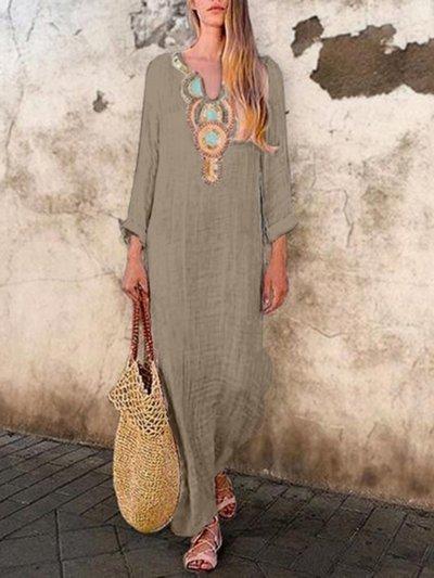 V Neck Vintage Long Sleeve Maxi Dresses