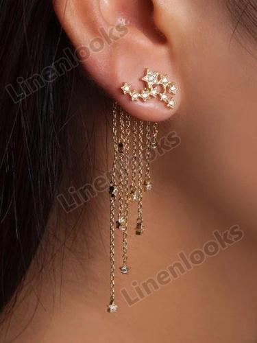 Long Fashion Jewelry Sparkling Star Tassels Elegant Earrings
