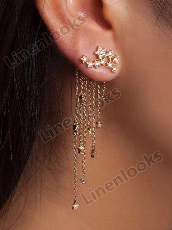 Long Fashion Jewelry Sparkling Star Tassels Elegant Earrings