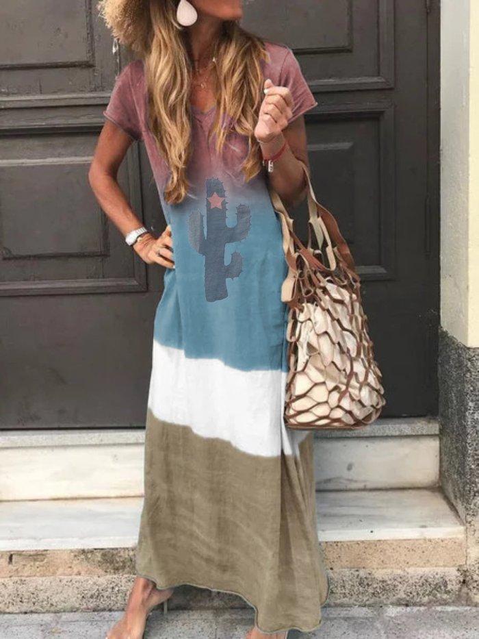 Plus Size Women Short Sleeve V Neck Vintage Casual Dresses