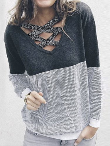 Crew Neck Casual Solid Paneled Sweater