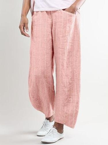 Stripes-Printed Casual Pants