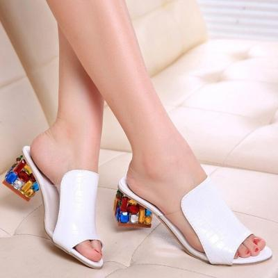 PU Daily Colorful Crystal Mid Heel Transparent Jelly Casual Slippers