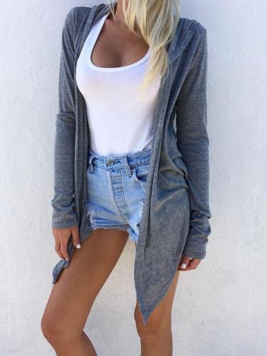 Longline Hooded Cardigan In Gray