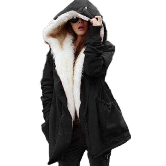 Solid Fur Parka Hooded Winter Coat