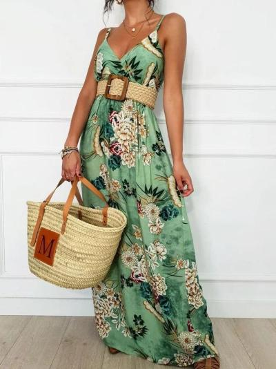 Spaghetti Summer Maxi Dress Plus Size Floral Dresses