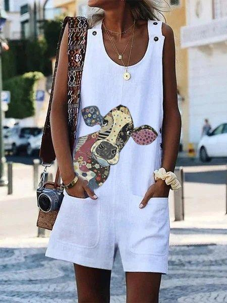 Sleeveless Cute Cow Printed Shift Jumpsuit