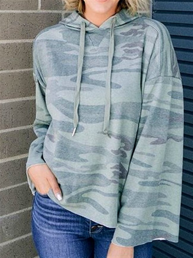 Camouflage Casual Long Sleeve Cotton Hoodie Top