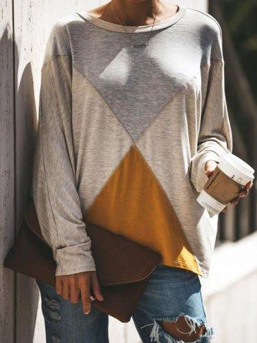 Gray Cotton-Blend Shift Casual Geometric Shirts & Tops