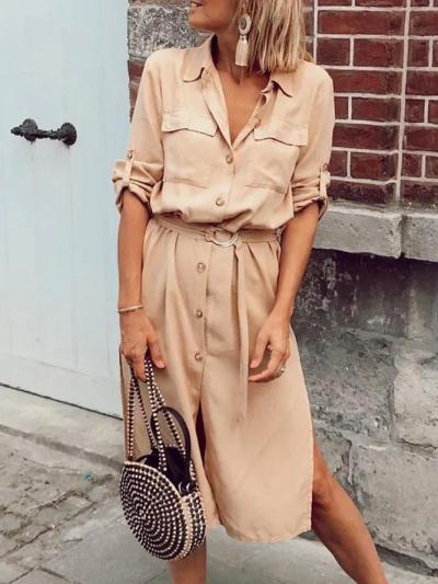 Khaki Long Sleeve Solid Dresses