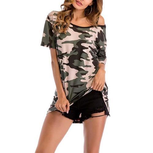 Off-Shoulder Camouflage Short-Sleeved T-Shirt