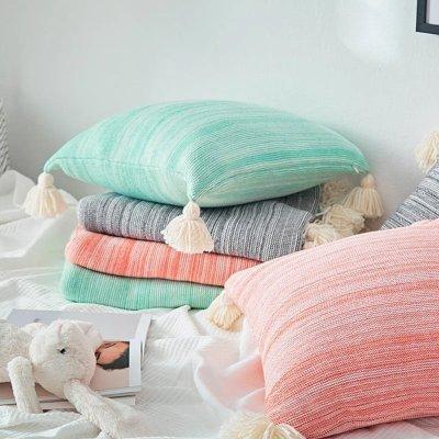 Tasseled Pompom Triming Knit Blankets
