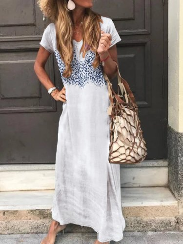 Printed Holiday Maxi Dress