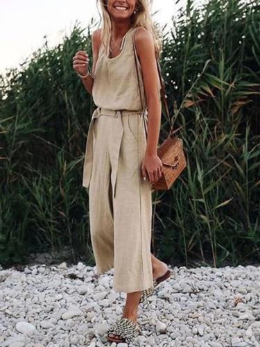 Fashion Khaki Sleeveless Vintage Jumpsuits