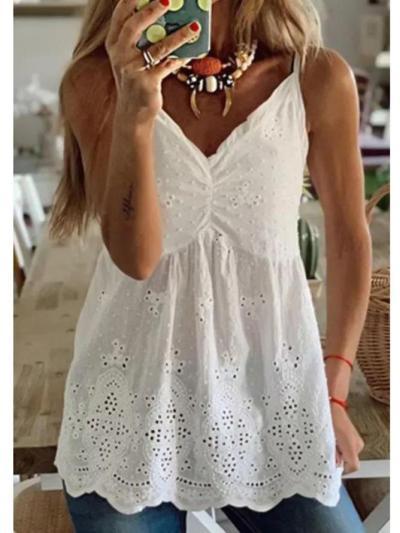 White V Neck Cotton-Blend Casual Shirts & Tops