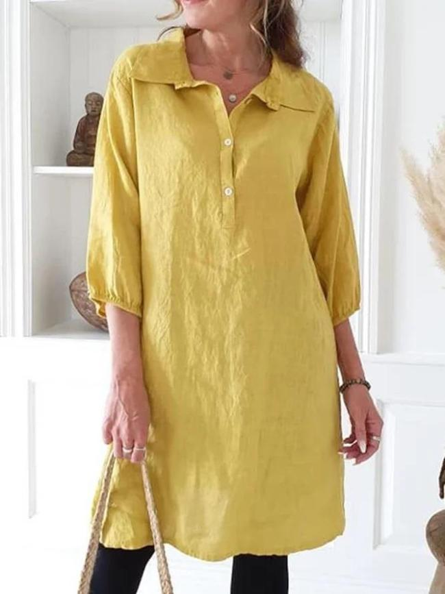 Solid Long Sleeve Tunic Shirt Collar Shirts