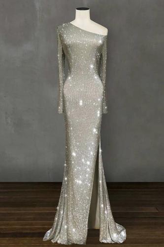 One-Shoulder Irregular Long Evening Dress