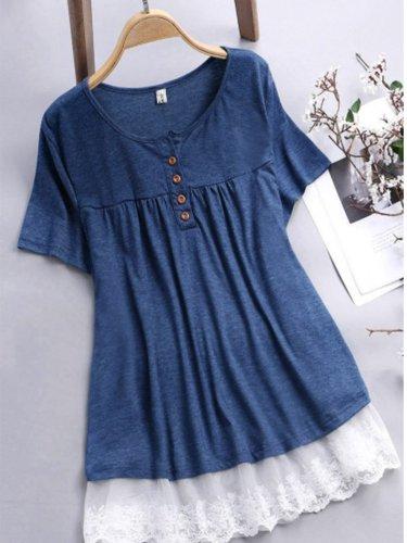 Short Sleeve Cotton-Blend Buttoned Shirts & Tops