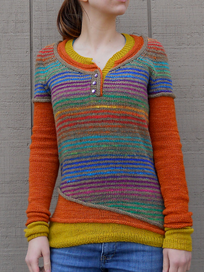 Red Striped Crew Neck Casual Women's Sweaters