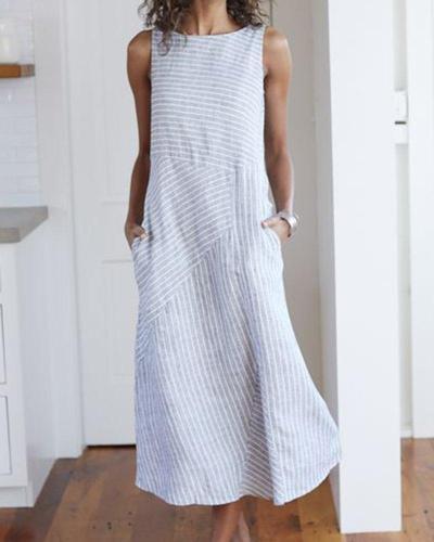 Women Casual Dress Cotton Striped Crew Neck Shift Daily Dresses