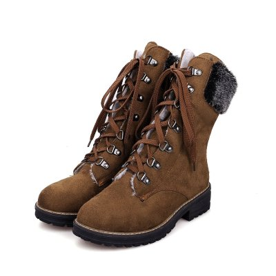 Women's Boots Lace-Up Yellow Casual Round Toe Low Heel Boots