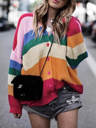 Casual Plus size Rainbow Knit COAT