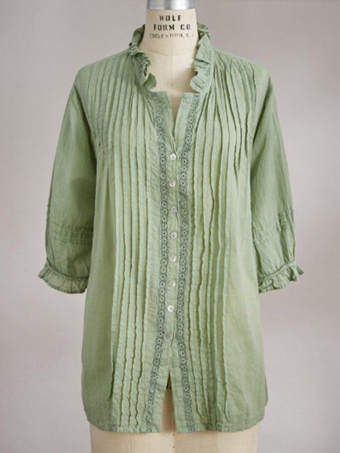 Green Half Sleeve Cotton-Blend Shirts & Tops