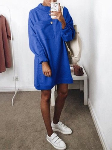 Round Neck Long Sleeve Plain Pocket Fashion Casual Dress
