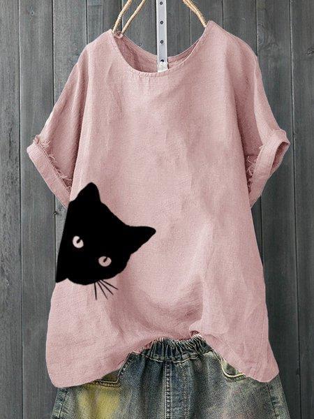 Casual Animal Printed Short Sleeve Shirts & Tops
