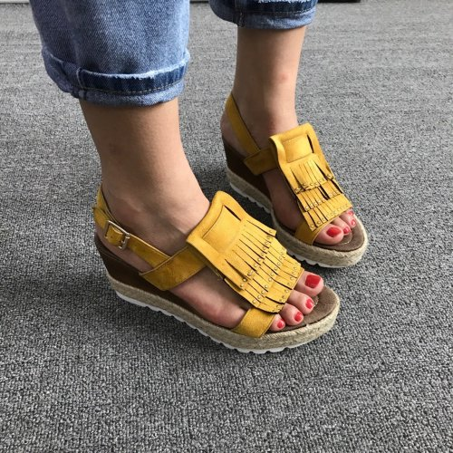 New Women Fashion Fringed Wedge Sandals Tassel Artificial Leather Summer Shoes